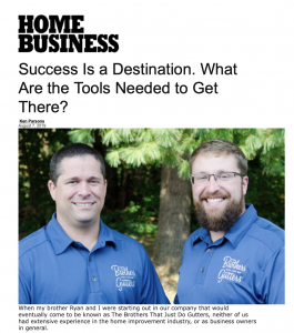 Brothers Gutters Franchise featured in home business magazine